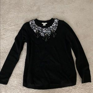 H&M black knit sweater with sequins